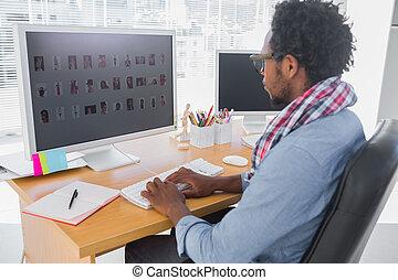 mooi, werkende , redacteur, foto, computer