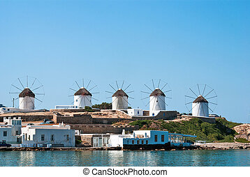 mooi, windmolen, mykonos eiland, griekenland
