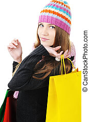 mooi, winter, meisje, met, het winkelen zakken