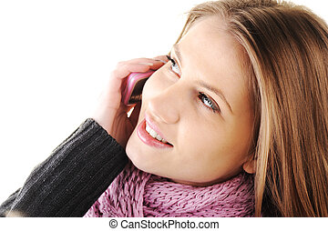 mooi, winter, mobiele telefoon, meisje, het spreken