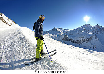 mooi, winter, seizoen, zonnig, sneeuw skiing, fris, dag