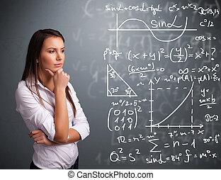 mooi, wiskundig, school, denken, over, complex, tekens & ...