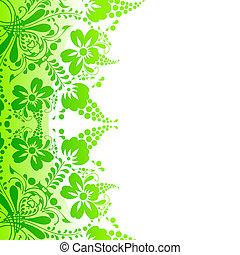 mooi, witte bloemen, groene