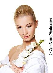 mooi, witte , vrouw, bloem, orchidee