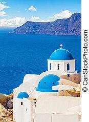 mooi, wolken, hemel, santorini, landscape, zee, kerk, witte , caldera