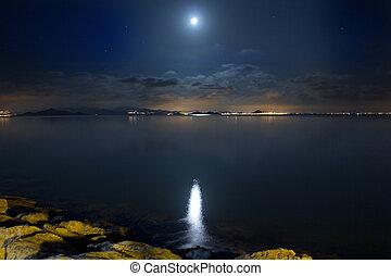 mooi, wolken, verlicht, scène, maan zee, nacht