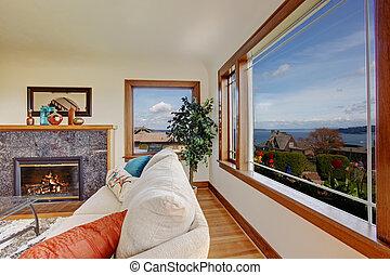 mooi, woonkamer, venster, openhaard, aanzicht