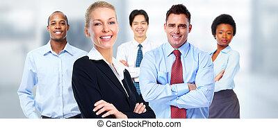 mooi, workers., vrouw, groep, zakelijk