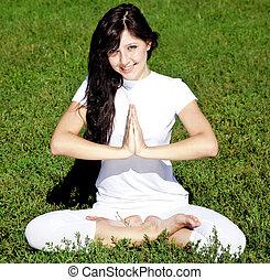 mooi, yoga, jonge, park., groene, meisje, gras, brunet