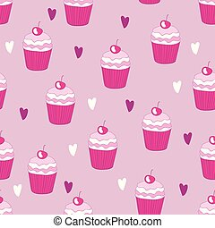 mooi, yummy, model, seamless, cupcake, achtergrond