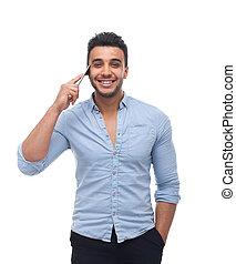 mooi, zakelijk, cel telefoongesprek, man, glimlachen, spreken, smart, vrolijke