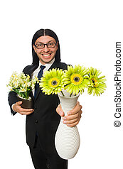 mooi, zakenman, met, bloem pot, vrijstaand, op wit