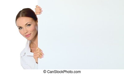 mooi, zakenmens , vasthouden, lege, witte raad