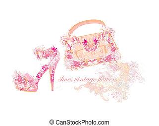 mooi, zakken, floral, schoentjes, vrouwlijk