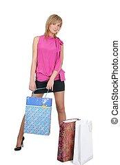 mooi, zakken, meisje, shoppen , haar