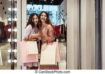 mooi, zakken, meisje, shoppen , jonge