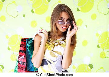 mooi, zakken, meisje, shoppen
