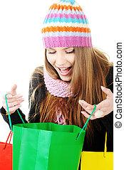 mooi, zakken, meisje, shoppen , winter