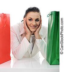 mooi, zakken, shoppen , jonge, vrouwlijk