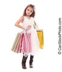mooi, zakken, weinig; niet zo(veel), shoppen , meisje