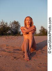 mooi, zee, meisje, strand, model, zanderig