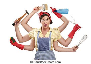 mooi, zeer, werkende, multitasking, huisvrouw, op wit