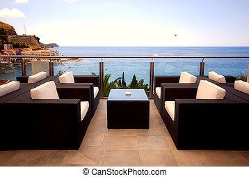 mooi, zeezicht, middellandse zee, terras, aanzicht