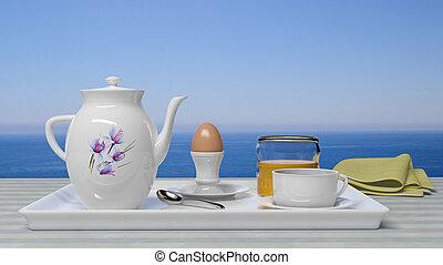 mooi, zeezicht, ontbijt, set, voorkant