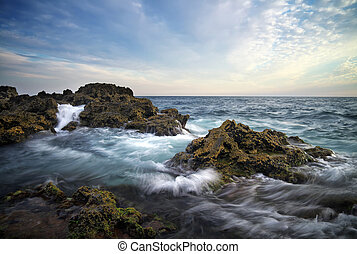 mooi, zeezicht, samenstelling, waves., natuur