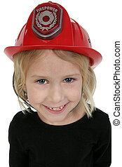 mooi, zes, jaar oud, meisje, in, speelbal, costumeren, de hoed van de brand