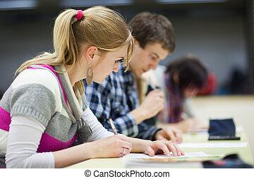 mooi, zittende , klaslokaal, vrouwelijke student, universiteit