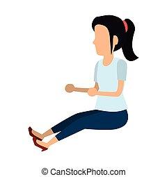 mooi, zittende , vrouw, vloer