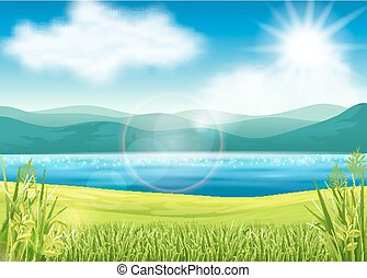 mooi, zomer, aanzicht