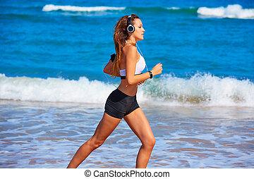 mooi, zomer, brunette, rennende , meisje, strand
