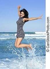 mooi, zomer, brunette, springt, meisje, strand