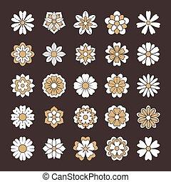 mooi, zomer, communie, silhouette, card., goud, achtergrond, set, doodle, trouwfeest, illustratie, color., drawing., bloem, ontwerp, schattig, zentangle, floral, witte bloemen