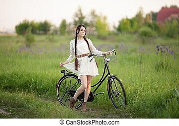 mooi, zomer, fiets, ouderwetse , groene, oud, meisje, jurkje, witte , field.