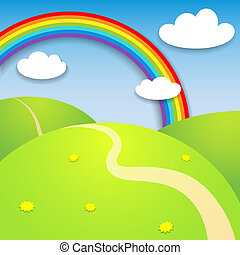 mooi, zomer, landscape, regenboog