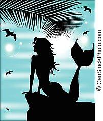 mooi, zomer, silhouette, blauwe hemel, achtergrond, mermaid
