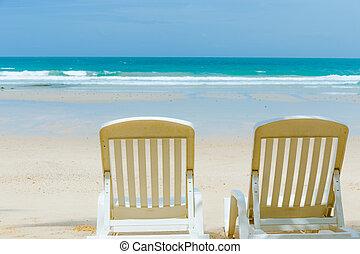 mooi, zomer, strand, tijd
