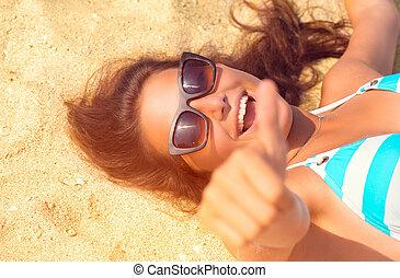 mooi, zomer, strand., vakantie, hebbend plezier, meisje, model, vrolijke