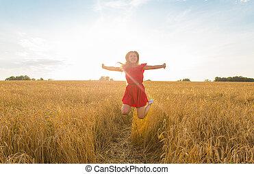 mooi, zomer, tiener, field.., beauty, nature., model, kosteloos, herfst, meisje, springt, buitenshuis, woman., het genieten van, jurkje, of, rood, vrolijke