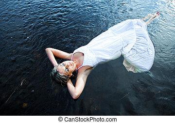 mooi, zomer, vrouw, blauwe , morgen, vroeg, het genieten van...