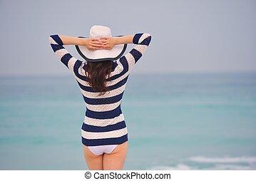 mooi, zomer, vrouw, vakantie, het genieten van, vrolijke