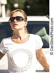mooi, zomer, vrouw, zonnebrillen