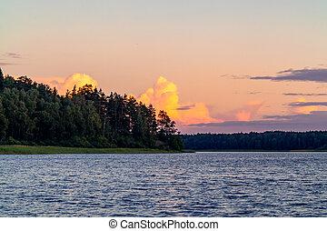 mooi, zomer, wolken, op, meer, ondergaande zon , dag
