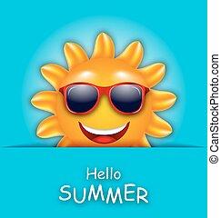 mooi, zomer, zon, zonnebrillen, kaart, koel