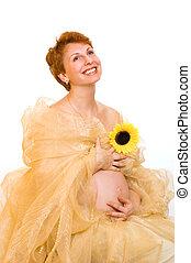 mooi, zwangere vrouw, met, een, zonnebloem