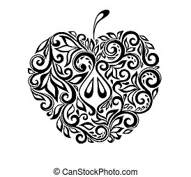 mooi, zwart wit, appel, verfraaide, met, floral, pattern.