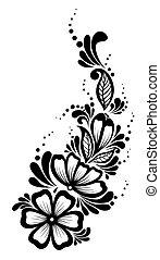mooi, zwart-wit, element, ontwerp, retro, floral, bladeren, bloemen, style., element.